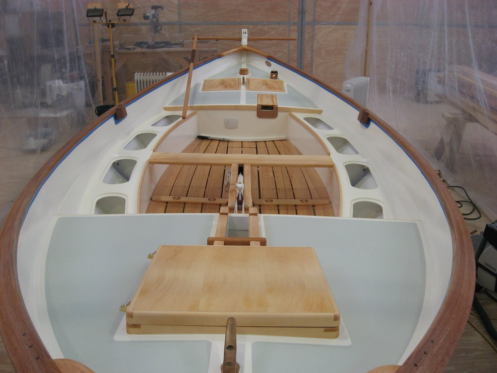 Interior of Caledonia Yawl showing side benches and foredeck anchor well hatch