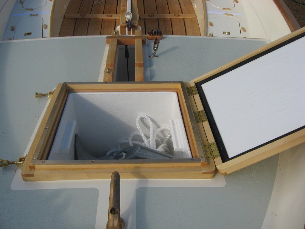 Foredeck detail showing removable anchor well