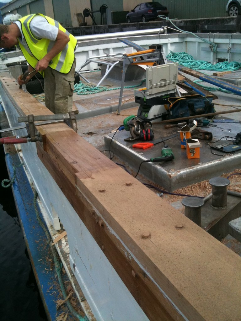 repairing bulwarks on a 65' commercial vessel
